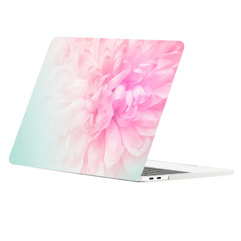 TOP CASE - Floral Pattern Graphic Rubberized Hard Case Cover for MacBook Pro 15-inch A1707 / A1990 with Touch Bar( Release Oct 2016/17/18 ) - Pink Peony