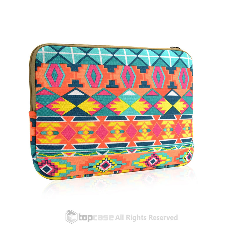 "Bohemian Style Canvas Fabric Laptop Sleeve Bag Case Cover for All 11"" 11-inch Laptop Notebook / Macbook Air / Ultrabook / Chromebook - TOP CASE"