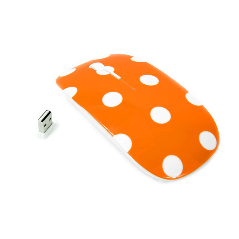 Polka Dot Design Orange USB Optical Wireless Mouse for Macbook (pro , air) and All Laptop