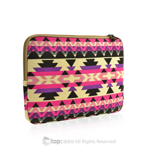 "Bohemian Style Canvas Fabric Laptop Sleeve Bag Case Cover for All 13"" 13-Inch Laptop Notebook / Macbook Unibody / Air/ Pro / Ultrabook / Chromebook - TOP CASE"