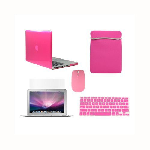 "TOP CASE 5 in 1 – Macbook Pro 13"" Crystal Case + Sleeve + Mouse + Keyboard Skin + LCD - HOT PINK"