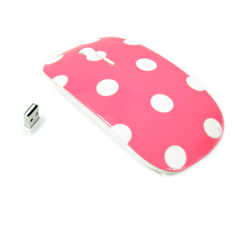Polka Dot Design Pink USB Optical Wireless Mouse for Macbook (pro , air) and All Laptop