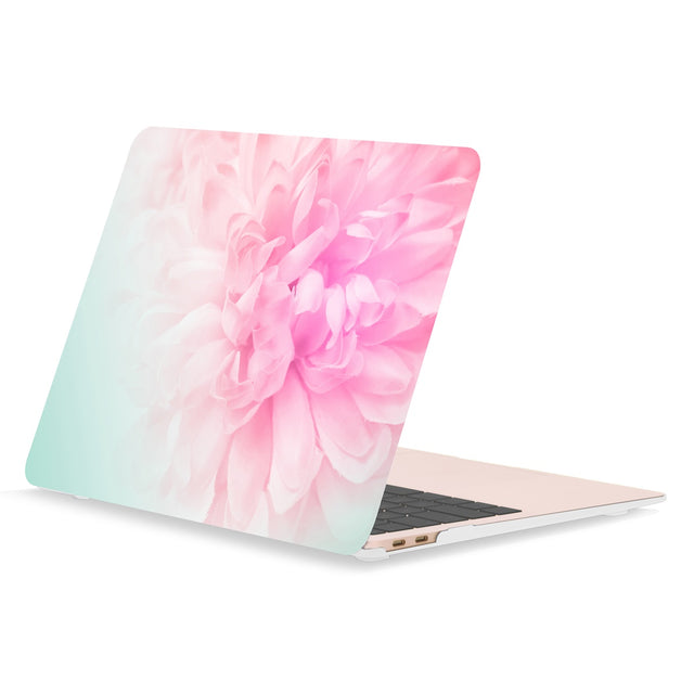 TOP CASE - Floral Pattern Rubberized Hard Case Cover Compatible with 2018 Release MacBook Air 13 Inch with Retina Display fits Touch ID Model: A1932 - Pink Peony