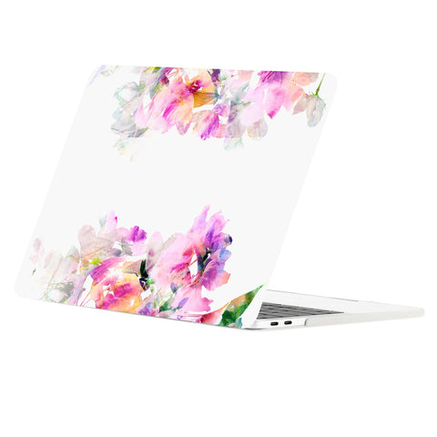TOP CASE - Macbook Pro 15 Case 2016, Floral Pattern Graphics Rubberized Hard Case Cover for MacBook Pro 15-inch A1707 with Touch Bar( Release Oct 2016 ) - Green and Purple Flowers Reflection