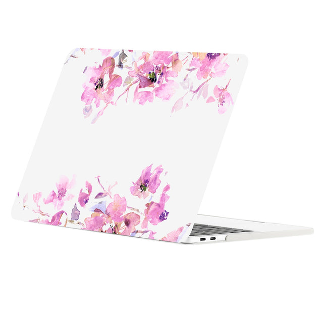 TOP CASE - Floral Pattern Graphics Rubberized Hard Case Cover for MacBook Pro 15-inch A1707/A1990 with Touch Bar( Release 2016/17/18 ) - Purple Flowers Reflection
