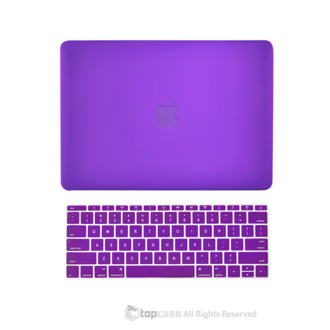 "TOP CASE 2 in 1 – Macbook Retina 12"" Rubberized Case + Keyboard Skin - Purple"