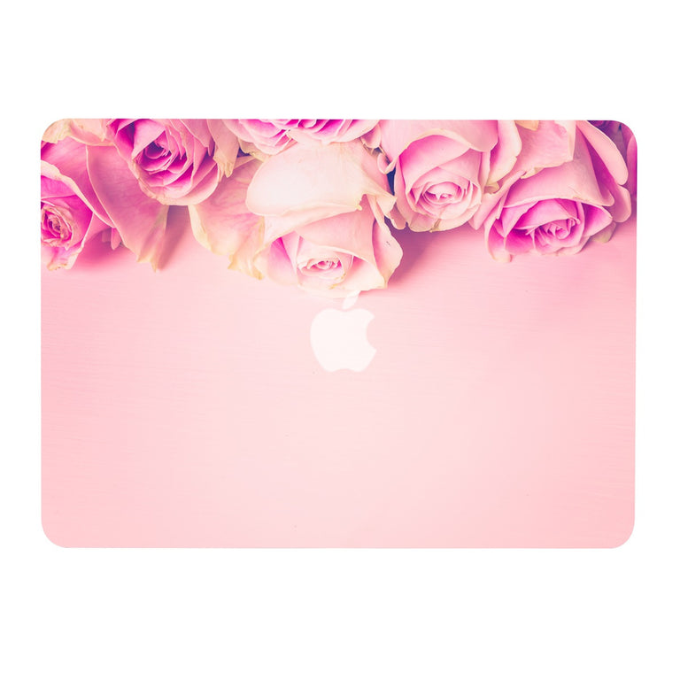 "Air 11-Inch Floral Pattern Rubberized Hard Case for Macbook Air 11"" Model: A1370 / A1465 - Pink Rose on Rose Quartz Base"