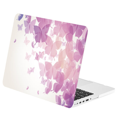 "TOP CASE - Purple Butterflies Graphics Rubberized Hard Case Cover for Macbook Pro 15"" with Retina"