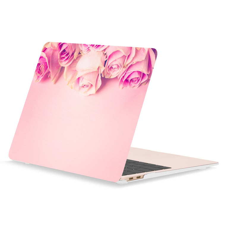 TOP CASE - Floral Pattern Rubberized Hard Case Cover Compatible with 2018 Release MacBook Air 13 Inch with Retina Display fits Touch ID Model: A1932 - Pink Rose