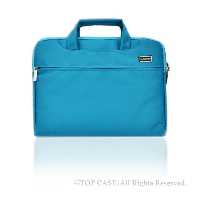Aqua Blue Nylon Lycra Fabric Carrying Sleeve Bag Briefcase for all 13-Inch Laptops/Chromebooks/Ultrabooks/Apple Macbooks - TOP CASE