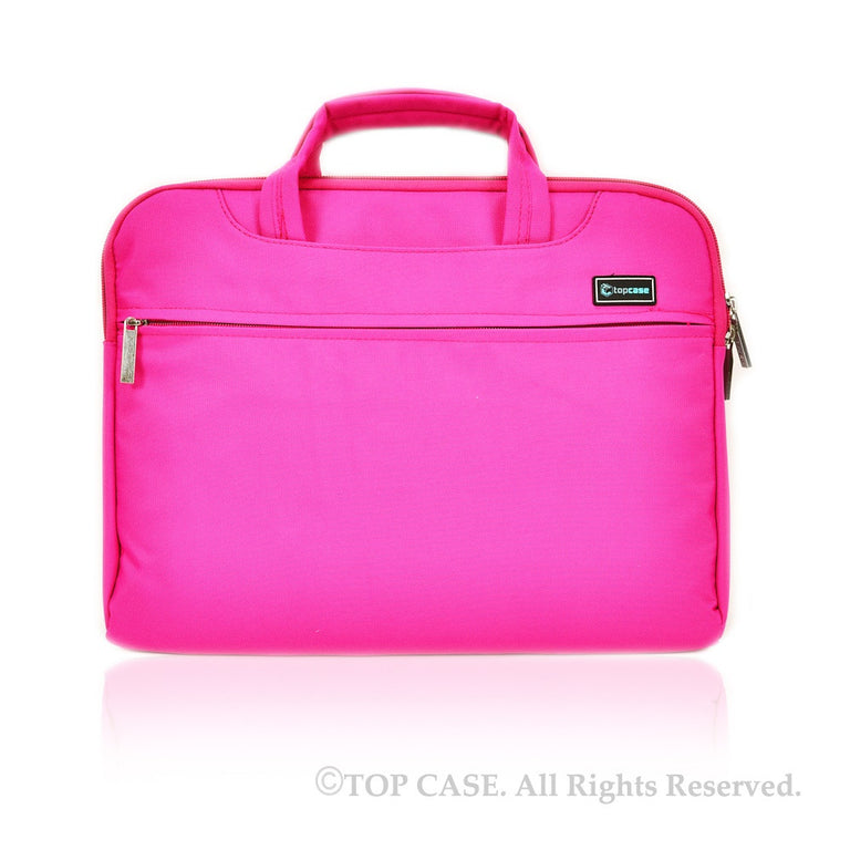 Pink Nylon Lycra Fabric Carrying Sleeve Bag Briefcase for Apple Macbook White, Air and Pro with/without Retina Display/Chromebooks/Ultrabooks - TOP CASE