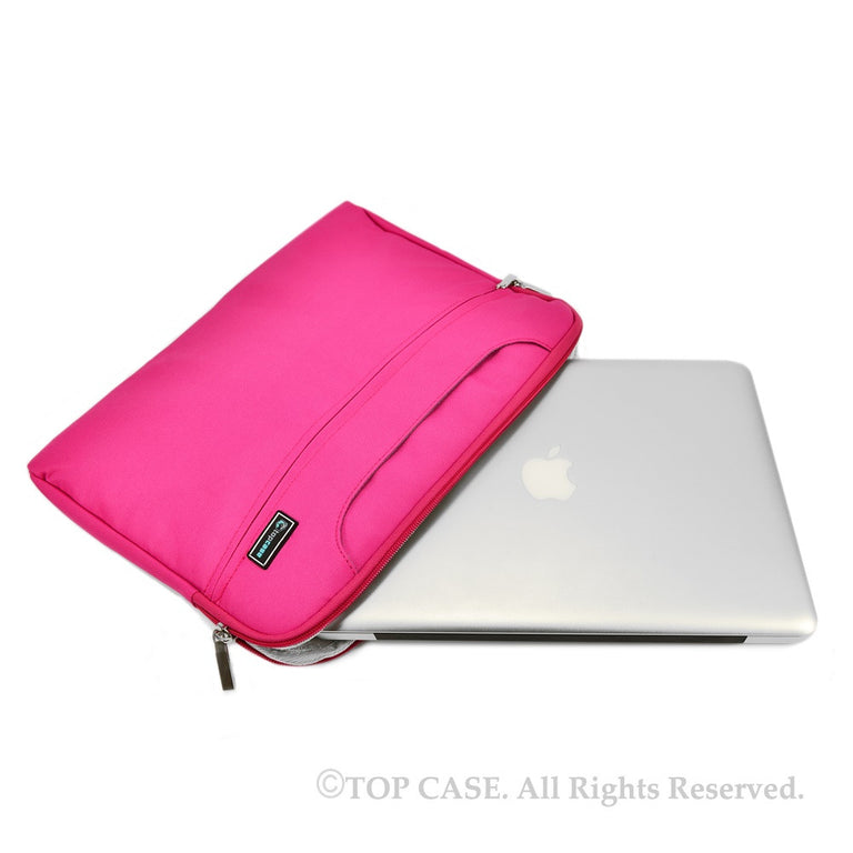 Pink Nylon Lycra Fabric Carrying Sleeve Bag Briefcase for Apple Macbook White, Air and Pro with/without Retina Display/Chromebooks/Ultrabooks