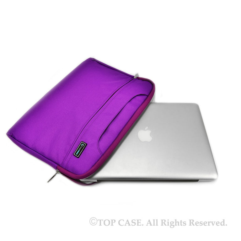 Purple Nylon Lycra Fabric Carrying Sleeve Bag Briefcase for all 15-Inch Laptops/Chromebooks/Ultrabooks/Apple Macbooks