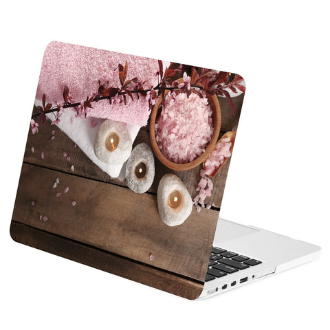 TOP CASE - Pink Flower, Candles and Relaxation Graphics Rubberized Hard Case for Macbook Retina 15""