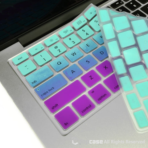 "TOP CASE Faded Ombre Series Light Blue & Purple Silicone Keyboard Cover for All Macbook 13"" 15"" 17"""