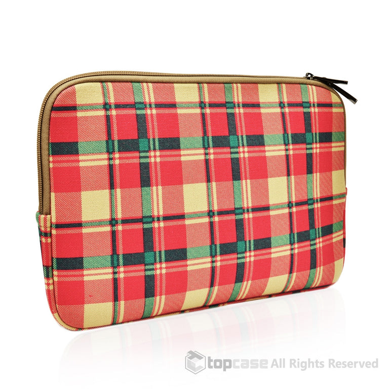 "Top Case Red Plaid Canvas Fabric Laptop Sleeve Bag for All Macbook White / Pro / Air 13"" Laptop with or without Retina Display / Ultrabook"