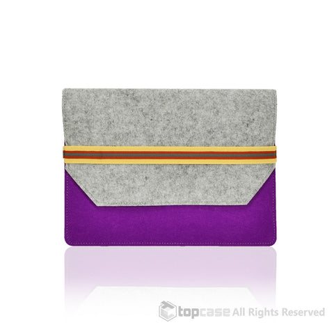 Top Case Felt Environmental Purple Sleeve Bag with Elastic Band Closure for Apple Macbook Air 11-Inch Laptop Model: A1370 & A1465 / Ultrabook