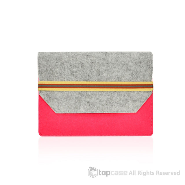 "Felt Environmental Pink Sleeve Bag / Carrying Case with Elastic Band Closure for Apple Macbook Air 11"" 11-Inch Laptop Model: A1370 & A1465 / Ultrabook - TOP CASE"