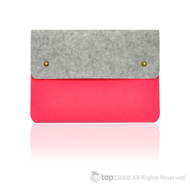"Felt Environmental Pink Sleeve Bag / Carrying Case with Button Closure for Apple Macbook Air 11"" 11-Inch Laptop Model: A1370 & A1465 / Ultrabook - TOP CASE"