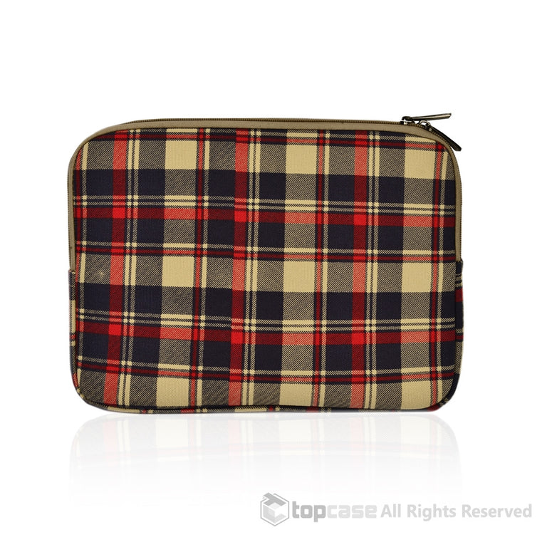 "Royal Blue Plaid Canvas Fabric Laptop Sleeve Bag Case Cover for Macbook 12"" 12-Inch Laptop ( Model A1534 ) / Ultrabook"