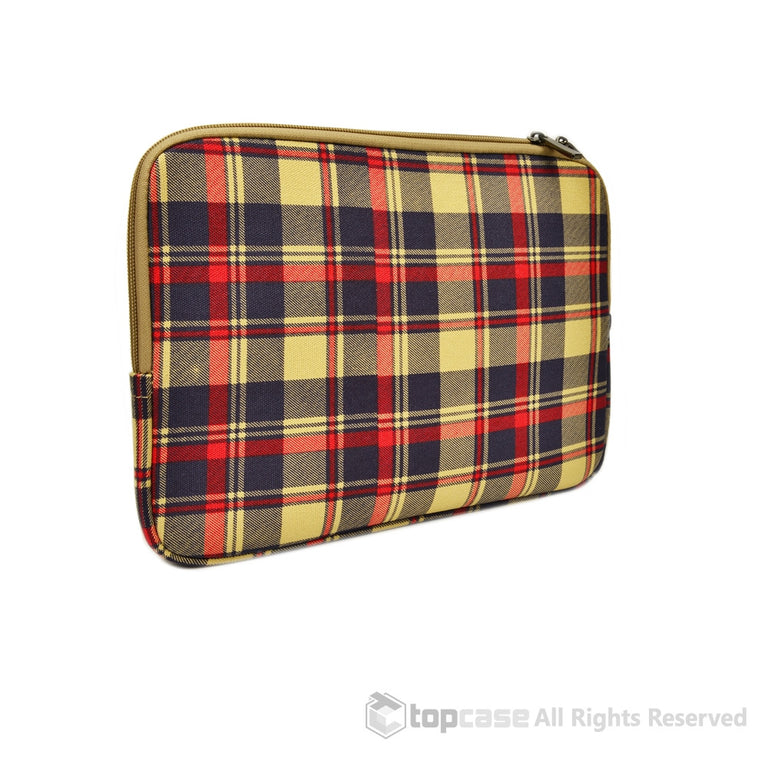 "Top Case Royal Blue Plaid Canvas Fabric Laptop Sleeve Bag for All Macbook White / Pro / Air 13"" Laptop with or without Retina Display / Ultrabook"