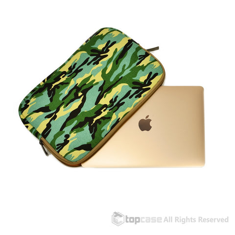 "Light Blue Camouflage Canvas Fabric Laptop Sleeve Bag Case Cover for New Macbook 12"" 12-Inch Laptop ( Model A1534 ) / Ultrabook - TOP CASE"