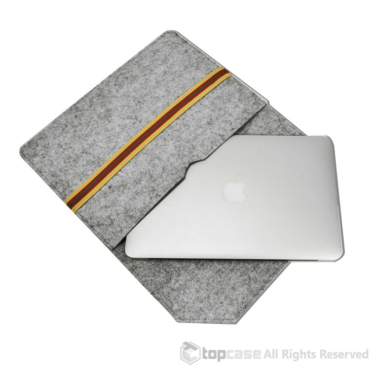 "Felt Environmental Gray Sleeve Bag / Carrying Case with Elastic Band Closure for Apple Macbook Air 11"" 11-Inch Laptop Model: A1370 & A1465 / Ultrabook - TOP CASE"