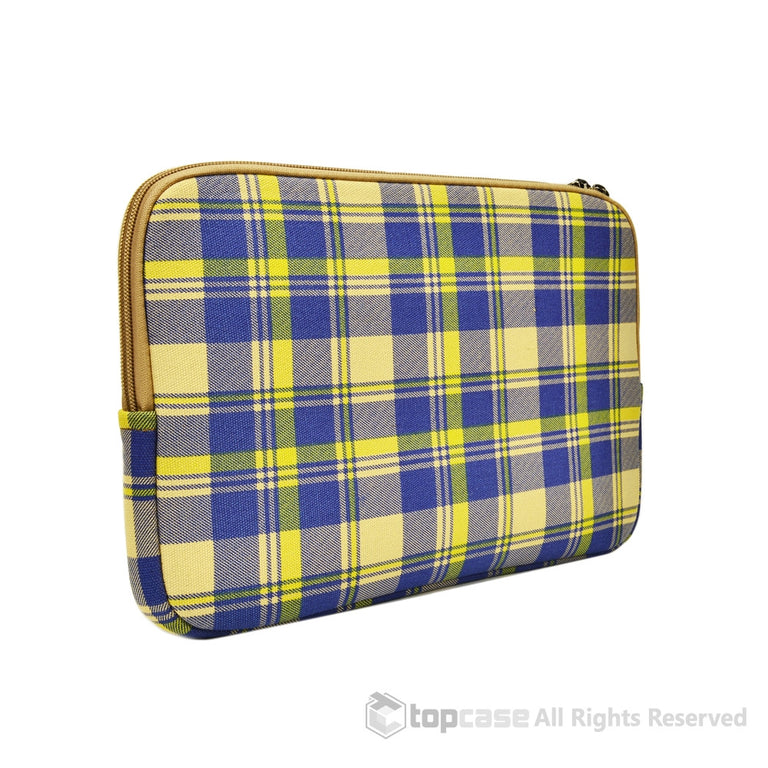 "Light Blue Plaid Canvas Fabric Laptop Sleeve Bag Case Cover for New Macbook 12"" 12-Inch Laptop ( Model A1534 ) / Ultrabook - TOP CASE"