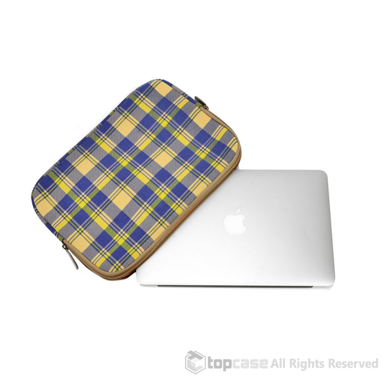 "Light Blue Plaid Canvas Fabric Laptop Sleeve Bag Case Cover for All Apple Macbook Air 11"" 11-Inch Laptop ( Model A1370 & A1465 ) / Ultrabook - TOP CASE"