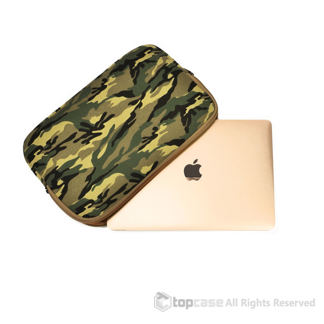"Green Camouflage Canvas Fabric Laptop Sleeve Bag Case Cover for New Macbook 12"" 12-Inch Laptop ( Model A1534 ) / Ultrabook - TOP CASE"