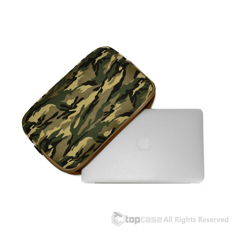 "Green Camouflage Canvas Fabric Laptop Sleeve Bag Case Cover for All Apple Macbook Air 11"" 11-Inch Laptop ( Model A1370 & A1465 ) / Ultrabook"