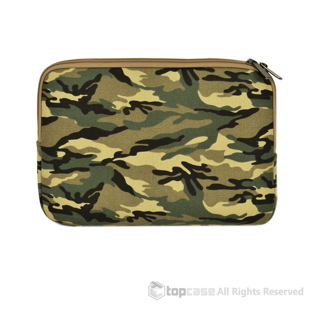 "Green Camouflage Canvas Fabric Laptop Sleeve Bag Case Cover for All Apple Macbook Air 11"" 11-Inch Laptop ( Model A1370 & A1465 ) / Ultrabook - TOP CASE"