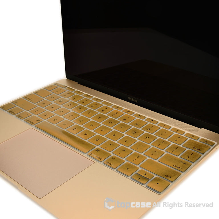 "Apple New Macbook 12"" Metallic Gold keyboard Cover Silicone Skin for Macbook 12-inch with Retina Display Model A1534 Newest Version 2015 - TOP CASE"