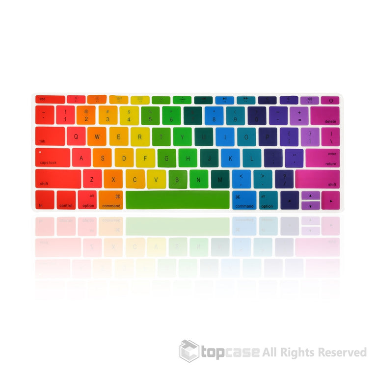 "Apple New Macbook 12"" Rainbow keyboard Cover Silicone Skin for Macbook 12-inch with Retina Display Model A1534 Newest Version 2015 - TOP CASE"