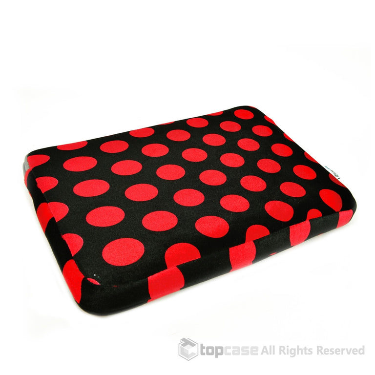 Red Polka Dot Print on Black Laptop Sleeve Bag Case Cover for All 13-Inch Laptop Notebook / Macbook Pro, Unibody, Air / Ultrabook / Chromebook