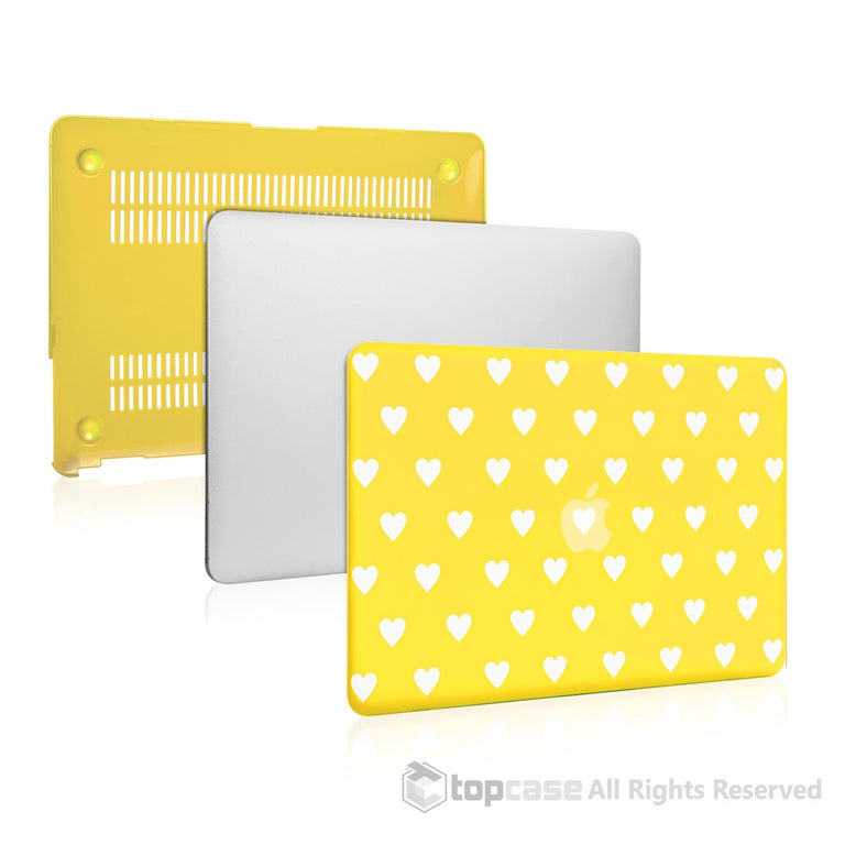 wholesale dealer 8a6f3 79dd6 Heart-Shaped Design Yellow Ultra Slim Light Weight Hard Case Cover for  Macbook Air 13