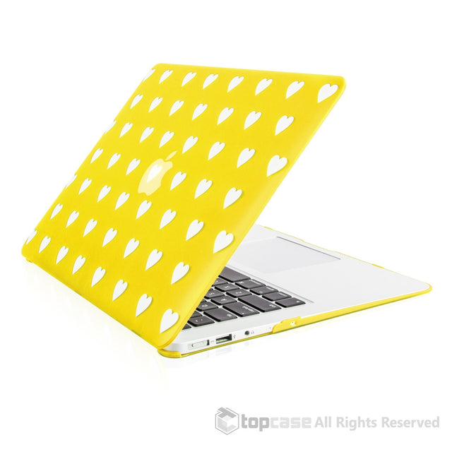 "Heart-Shaped Design Yellow Ultra Slim Light Weight Hard Case Cover for Macbook Air 13"" Model: A1369 and A1466 - TOP CASE"