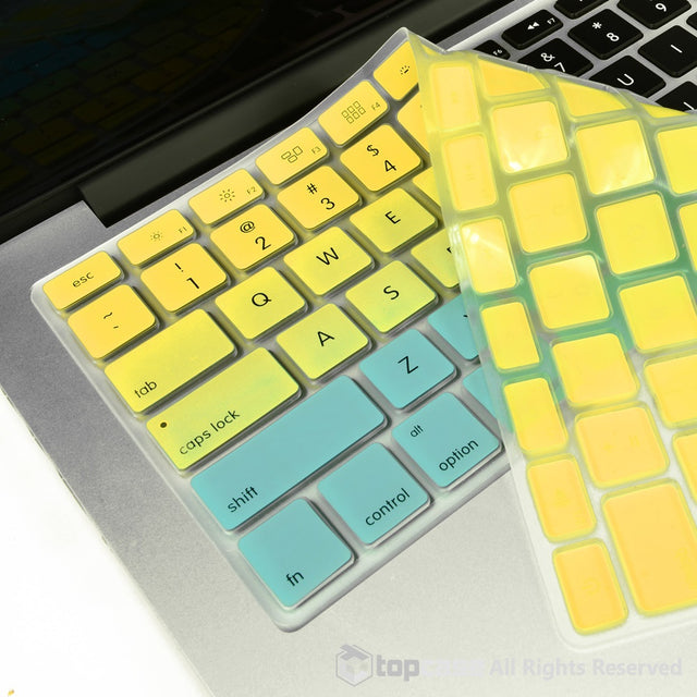 "TOP CASE Faded Ombre Series Yellow & Light Blue Silicone Keyboard Cover Skin for All Macbook 13"" 15"" 17"""