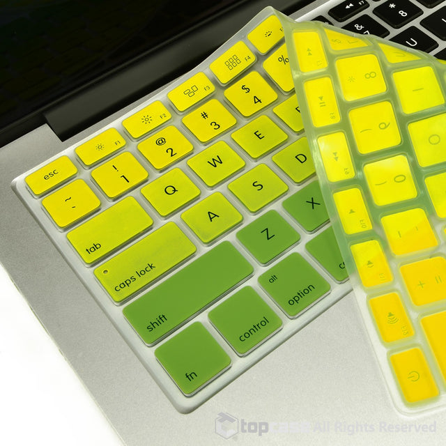 "TOP CASE Faded Ombre Series Yellow & Green Silicone Keyboard Cover Skin for All Macbook 13"" 15"" 17"""