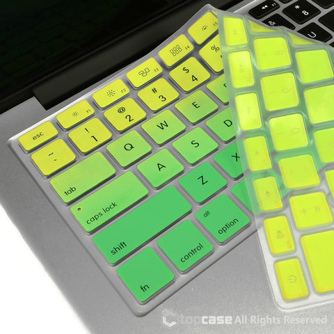 "TOP CASE Faded Ombre Series Green Silicone Keyboard Cover Skin for All Macbook 13"" 15"" 17"""