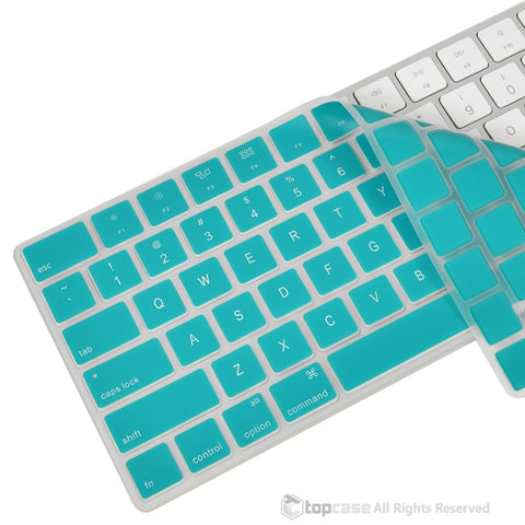 Apple Magic Keyboard Aqua Blue Ultra Thin Soft Silicone Keyboard Cover Skin for Magic Keyboard MLA22LL/A US Keyboard Layout - TOP CASE