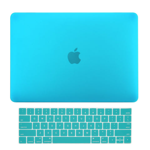 2016 Macbook Pro 15 Case 2 in 1 Bundle, Rubberized Matte Hard Case Cover + Matching Color Keyboard Cover for MacBook Pro 15-inch Model A1707 with Touch Bar ( Release Oct 2016 ) - Aqua Blue