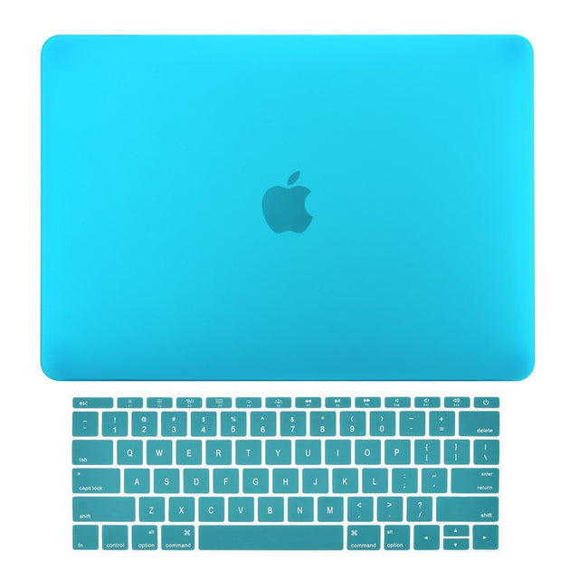 Macbook Pro 13 WITHOUT Touch Bar (2016 Release) 2 in 1 Bundle, Rubberized Matte Hard Case Cover + Matching Color Keyboard Cover for MacBook Pro 13-inch A1708 without Touch Bar - Aqua Blue