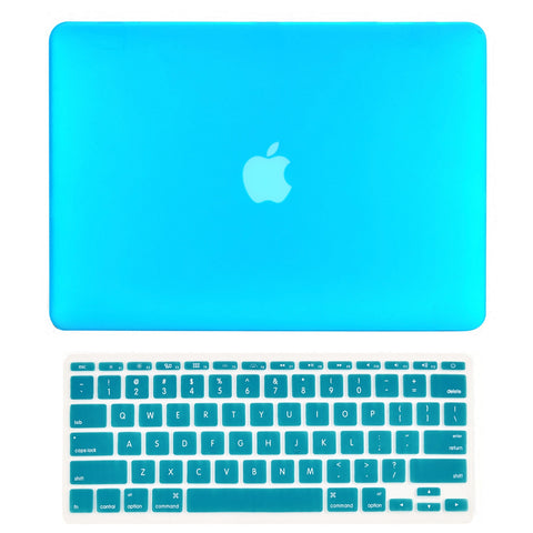 "TOP CASE 2 in 1 - Macbook Air 11"" Rubberized Case Cover + Keyboard Cover - Aqua Blue"