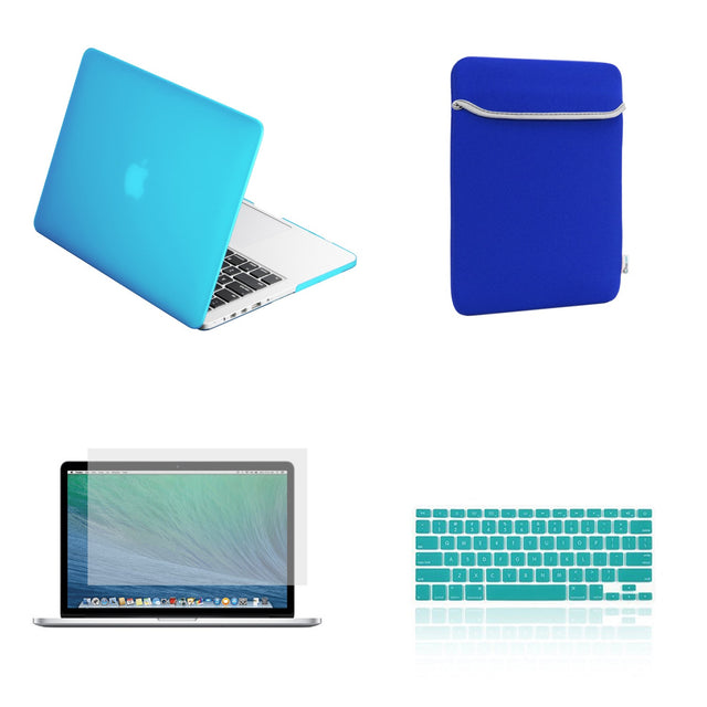 "TOP CASE 4 in 1 – Macbook Retina 15"" Rubberized Case + Sleeve + Keyboard Skin + LCD -Aqua Blue"