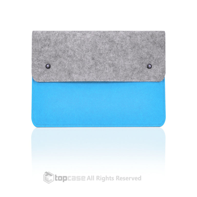 "Felt Environmental Blue Sleeve Bag / Carrying Case with Button Closure for Apple Macbook White / Pro / Air 13"" and Ultrabook"