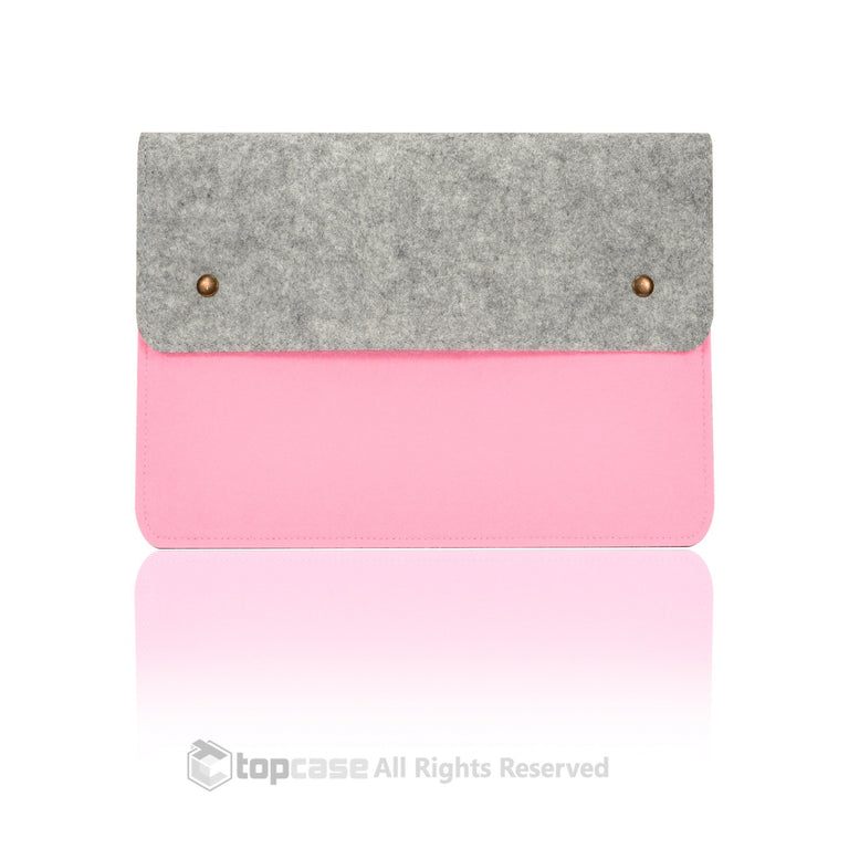 "Felt Environmental Light Pink Sleeve Bag / Carrying Case with Button Closure for Apple Macbook White / Pro / Air 13"" and Ultrabook"