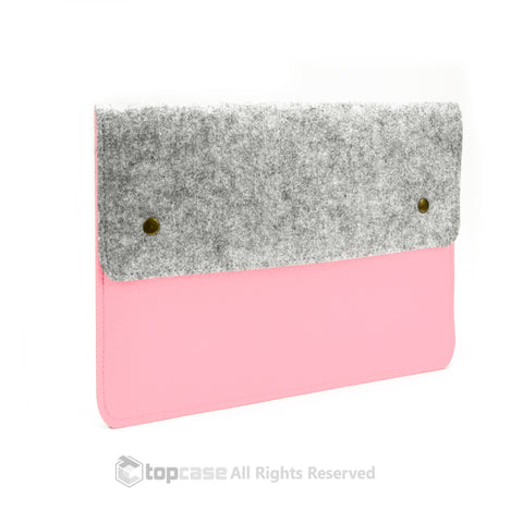 "Felt Environmental Light Pink Sleeve Bag / Carrying Case with Button Closure for Apple Macbook White / Pro / Air 13"" and Ultrabook - TOP CASE"