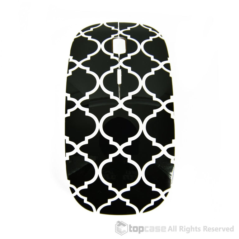 Quatrefoil / Moroccan Trellis Series Black USB Optical Wireless Mouse for Macbook (pro , air) and All Laptop