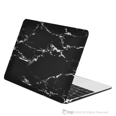 "Black Marble Rubberized Hard Case for Macbook 12"" with Retina Display Model A1534 (Newest Version 2015) - TOP CASE"